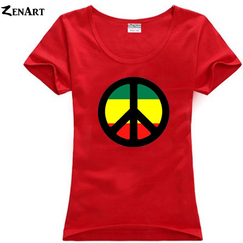Compre Camiseta De Mujer Rasta Jamaica Rastafari Signo De La Paz Símbolos  De Paz Pareja Ropa Mujer Mujer Algodón Talla Grande Camiseta De Manga Corta  Ziiart ... 9dfed8ed9b3c3
