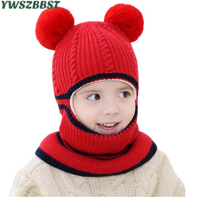 Thick Autumn Winter Children Hats Pom Pom Ball Hat Kids Beanies Cap