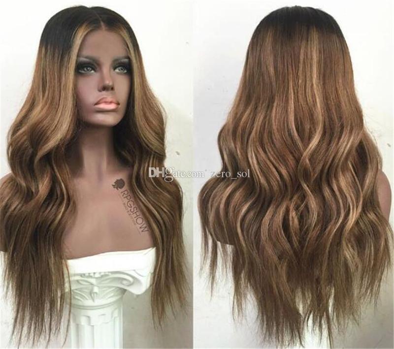 Perruques Lace Front Cheveux Ombre T1b 27 130 Densité onduleux pré-pincées Cheveux Vague malaisienne Vierge naturelle Hairline avec des cheveux de bébé
