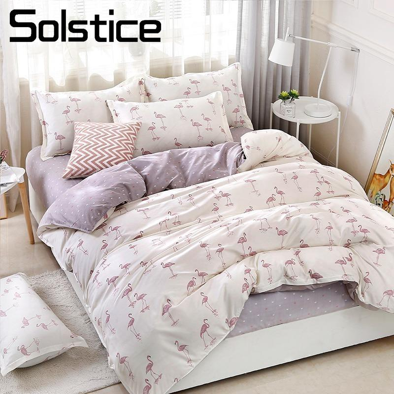 8b7e6739b9 Solstice Home Textile Duvet Cover Flat Bed Sheet Pillow Case King Queen Twin  Flamingo Light Purple Bedding Linens Set Bedclothes Beddings Sets Duvet  Bedding ...