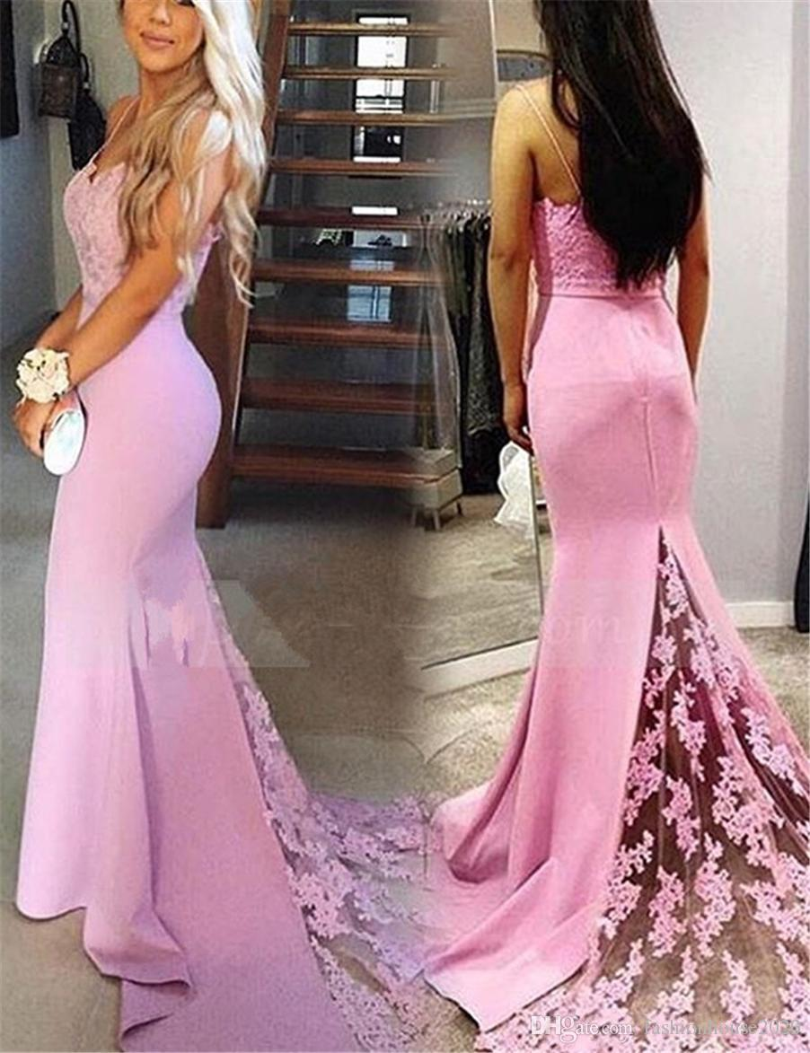 63e252f8768 Evening Dresses Wear 2018 New Pink Spaghetti Straps Lace Appliques Beaded  Satin Long Zipper Back Sleeveless Illusion Party Formal Prom Gowns Summer  Evening ...