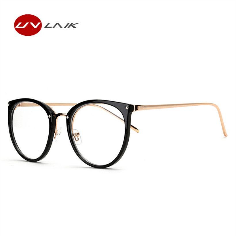 3b69787da88 UVLAIK Cat Eye Glasses Frame for Women Round Oversized Spectacle ...