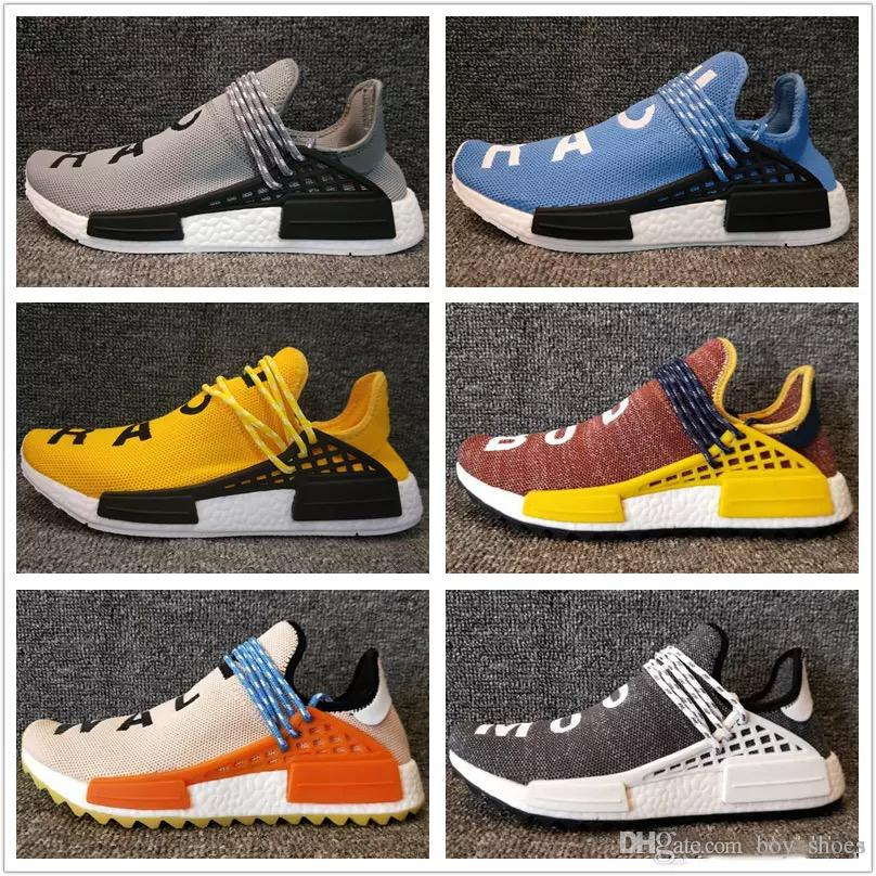 Fashion Discount products Human Race trail Running Shoes Mens Women s Pharrell Williams x Holi Blank Canvas sports shoes online sale