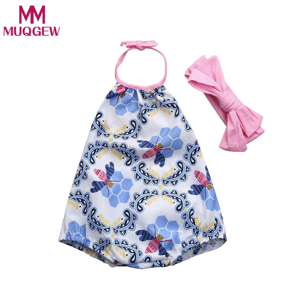 49749e610368 MUQGEW 2018 Baby Girls Clothes Romper Baby Girls Headwear Infant Floral  Toddler Jumpsuit Romper+Headband Set Clothes UK 2019 From Yohkoh
