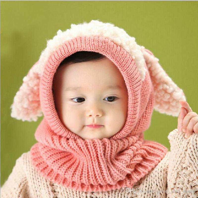New Fashion Autumn & winter Infant Boys Girls Children Neck Warmer Baby Bonnet warming With Crochet Knitted Caps Hat and Scarf Joint Shawl