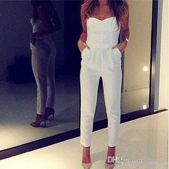 buy online 50db5 8ff3a Jumpsuit White Summer Women Romper Sexy Hot Pants Solid Beach Jumpsuits WH54