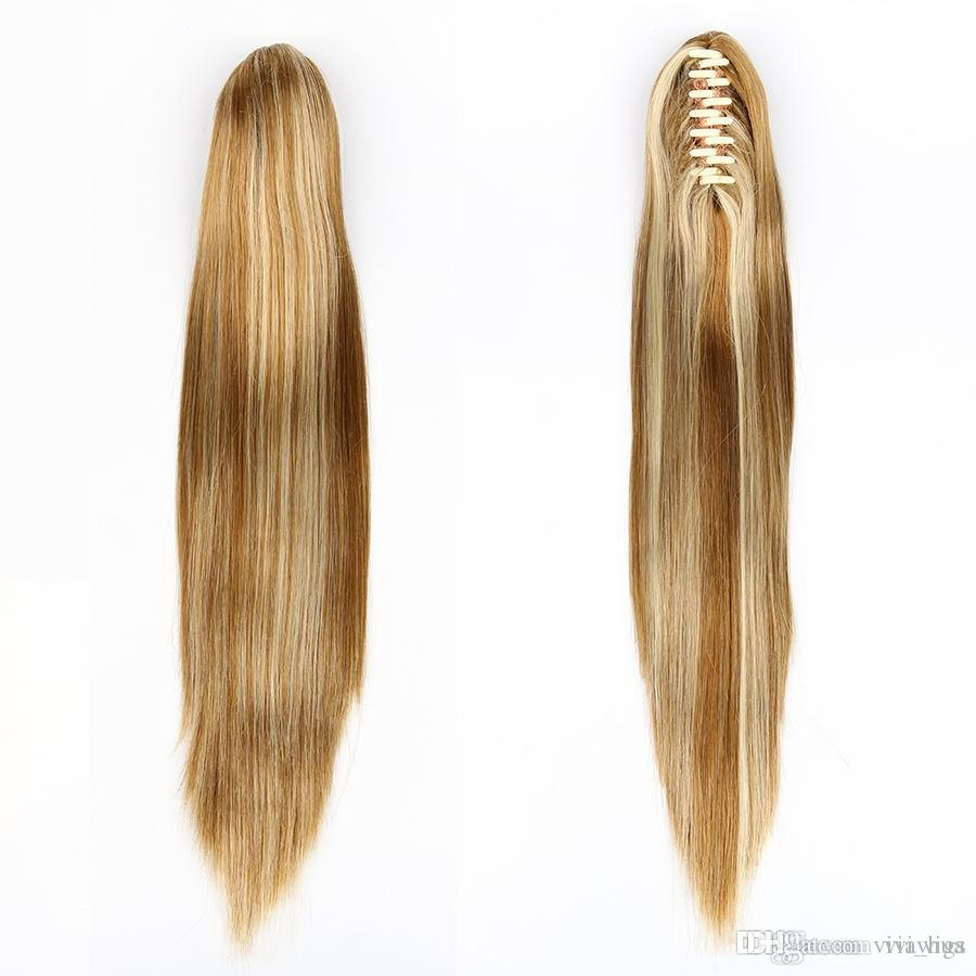 "XT030 21"" Straight Hair Ponytail Claw Synthetic Wig 5 Color Red Brown Black Blonde Hair Color"