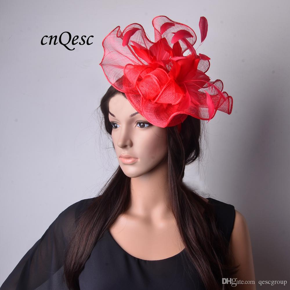 30a5dc0e16ade 2018 New Big RED Sinamay Fascinator Wedding Hat With Feather Flower For  Melbourne Cup