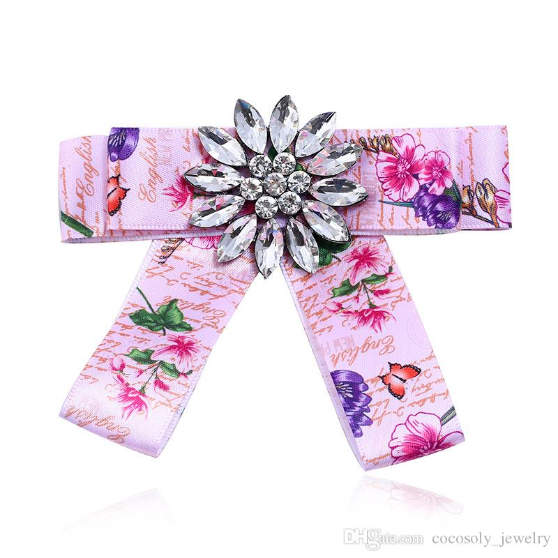 Bohemian Printing Flower Faille Brooches Bowknot White Rhinestone Brooch Pins 2018 New Women Jewelry Accessories Wholesale