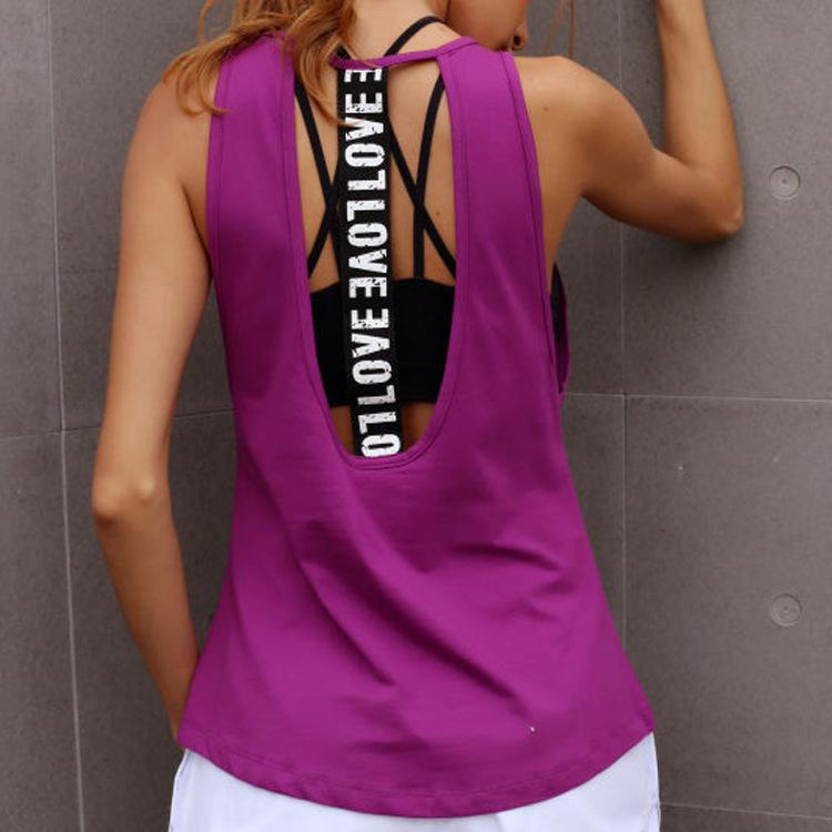 f89a9d2d2cc6 2019 Women Sleeveless Fitness Vest Exercise Workout Sports T Shirts Fitness  Tanks Running Sport Vest Yoga Top Gym Clothing T Shirt From Qingchunxu