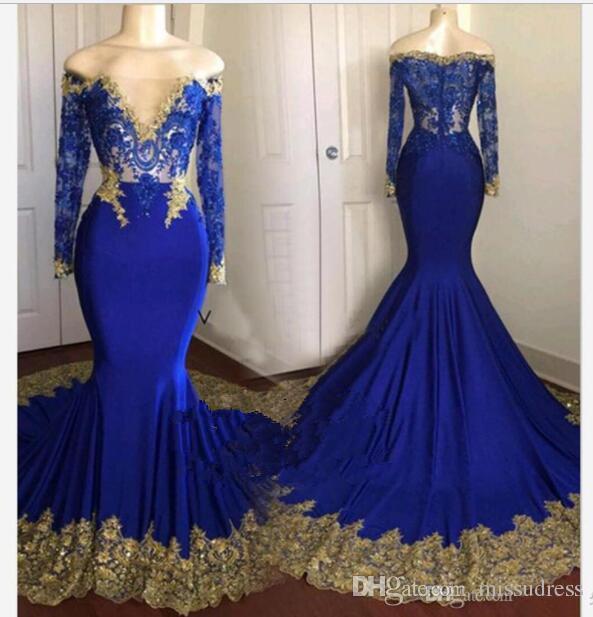 Abiti da sera a sirena a maniche lunghe con spalle scoperte in pizzo color oro con applicazioni di abiti da sera da sera eleganti da donna blu di lusso