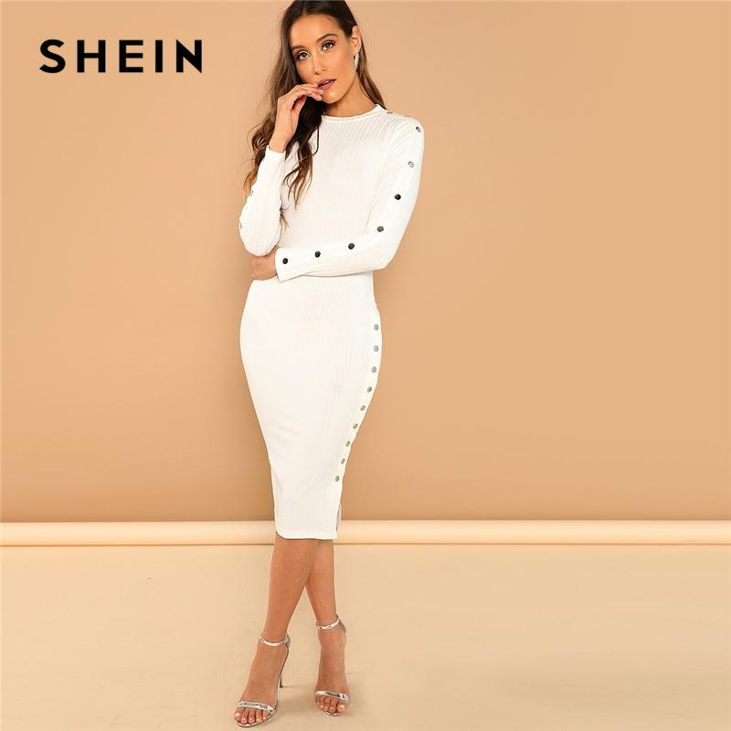 5cc999a9ed SHEIN White Office Lady Solid Mock Neck Rib Knit Long Sleeve Bodycon Skinny  Dress Autumn Workwear Elegant Women Pencil Dresses White Cocktail Party  Dresses ...
