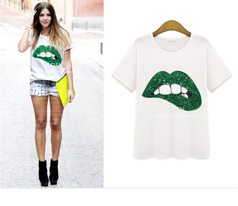 2018 여름 여성 티셔츠 티셔츠 새로운 큰 입술 자수 블라우스 Odaier 직물 라운드 넥 반팔 티셔츠
