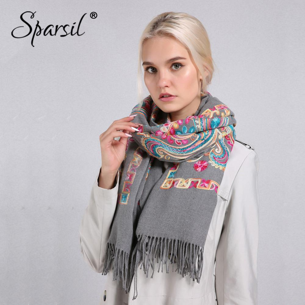 Sparsil Women Cashmere Tassel Scarves Floral Flowers Embroidery Winter Shawl Ws 06 Pashmina 20070 Cm Long Soft Wraps Warm Female Shawls D18102904 Stoles Head Wrap From