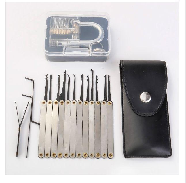 التدريب قفل اختيار مجموعة أدوات الأقفال الفولاذ المقاوم للصدأ الممارسة مع كوتاواي شفاف لفتاحة الأقفال فتح التدريب