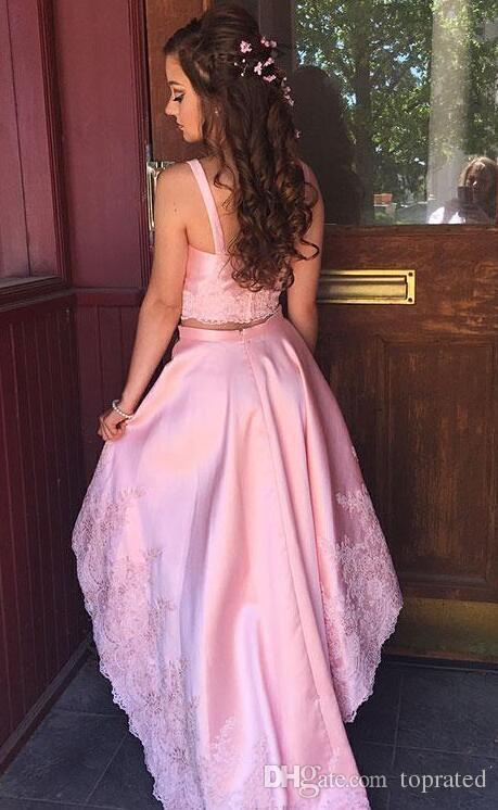 Magic Pink High Low 2019 Heimkehr Cocktailkleider Günstige 2 Stück Applique Spitze Perlen Mit Trägern Kurze Prom Party Kleid Kleider Mädchen