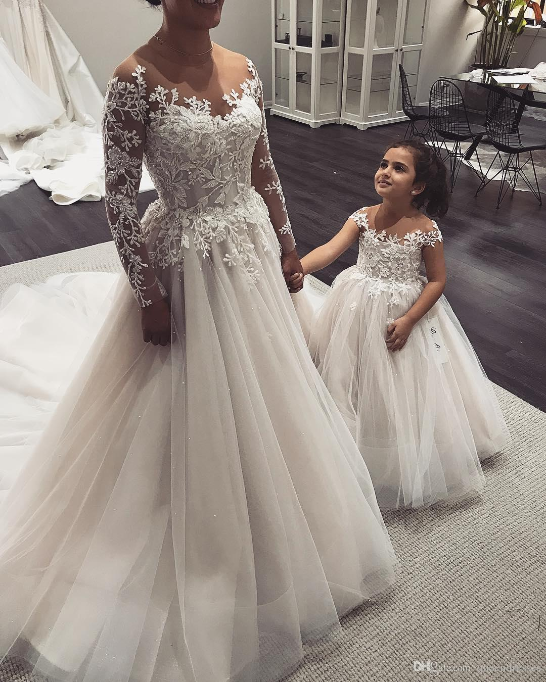 Luxury White Wedding Gowns With Lace Long Sleeve Jewel Beaded A Line Wedding Gowns Bridal Dresses Chapel Train Tulle Brautkleider Kaufen