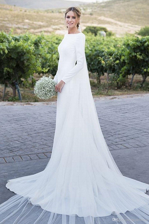 2020 Paese Boho Abiti da sposa a maniche lunghe Bateau guaina lungo Backless semplice Beach Abiti da sposa Vestiti De Noiva Cheap Customized