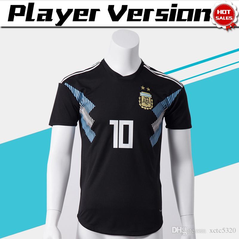 Jugador Versión 2018 Copa Del Mundo Argentina Visitante Jersey De Futbol  Argentina   10 MESSI Camiseta De Futbol   21 DYBALA   19 KUN AGUERO  Uniformes De ... 28368efe67381