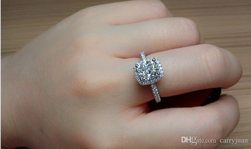Three Color Hot Sell Luxury Jewelry 925 Sterling Silver Cushion Shape White Topaz Women Wedding CZ Diamond Classical Gesmtones Ring Gift