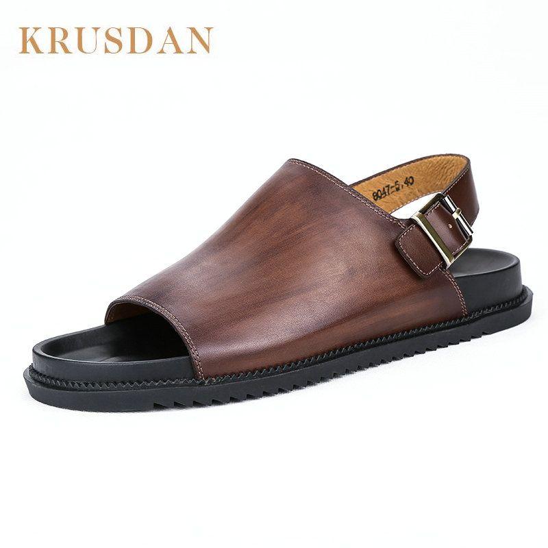 567d19526 KRUSDAN Summer 2017 Mens Beach Sandals Genuine Leather Flat Sandals Men  Handmade Shoes Beach Flip Flops Seaside Slippers Jelly Sandals Platform  Sandals From ...