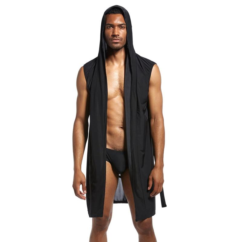 2018 Sell like hot cakes Man sexy robe hooded pajamas pure color summer bed clothes with robe White black brown gray long