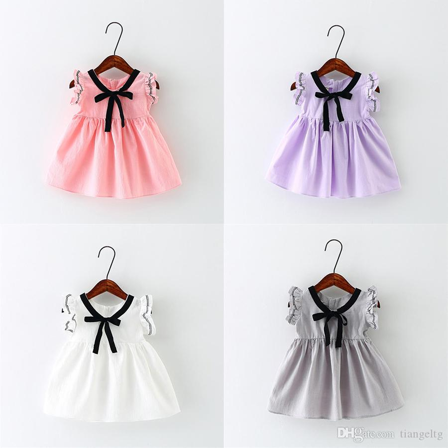 9e7fcc21b 2019 New Girls Summer Dresses Bow Baby Girls Vest Rompers Cotton Fabric  Sleeveless Skirt Breathable Outfit 9M 3T From Tiangeltg, $20.3 | DHgate.Com