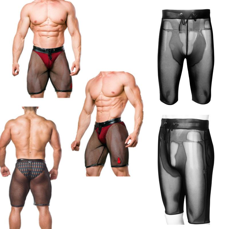 Black Sexy Men Lingerie Low Rise Shiny Patent Leather Boxer Shorts Underwear  Mesh Splice Stretchy Underpants With Roap Elastics For Men Sleepwear Sexy  ... 3a092b9f7