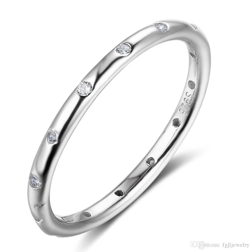 ed15eda8a5c3c 2018 High Quality White Cubic Zirconia 925 Sterling Silver Ring Wedding  Band Cz Stackable Ring for Young Women