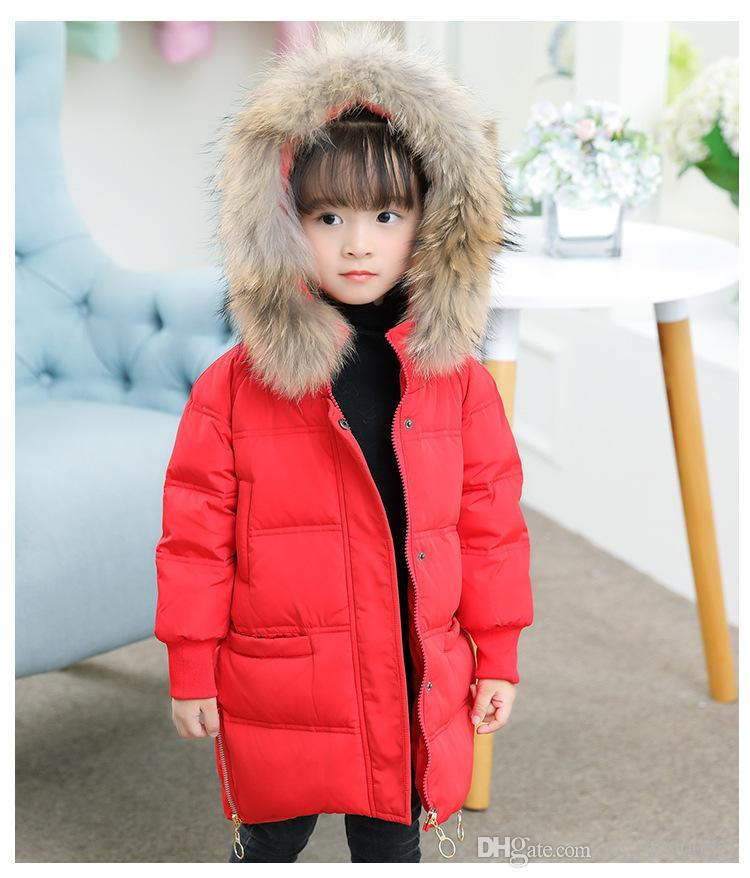 5ce1ab13f free shipping Winter new children down jacket baby coat large fur collar  girls thick long section