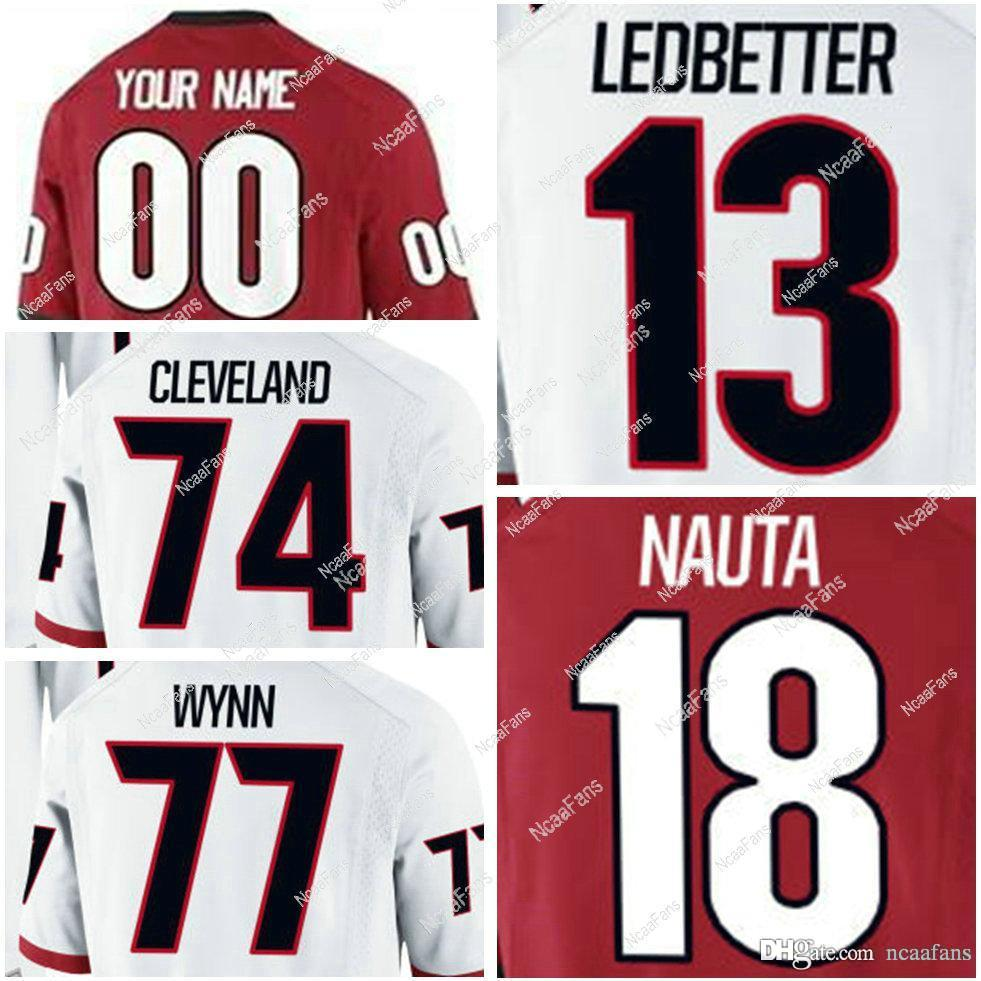 brand new 969e1 a8fc7 Red White Black 18 Isaac Nauta 13 Jonathan Ledbetter 74 Ben Cleveland 77  Isaiah Wynn Jake Fromm Custom Stitched College
