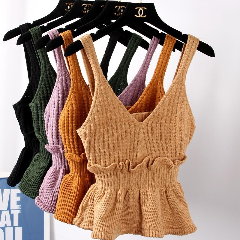 a95295d8c9a9e 2019 Tank Tops Women Knitted Sweater Knit Vest Basic Sweater V Neck Jumper  Ruffle Knit Tops Sleeveless Tricot Plus Size Jupe Femme From Candice98