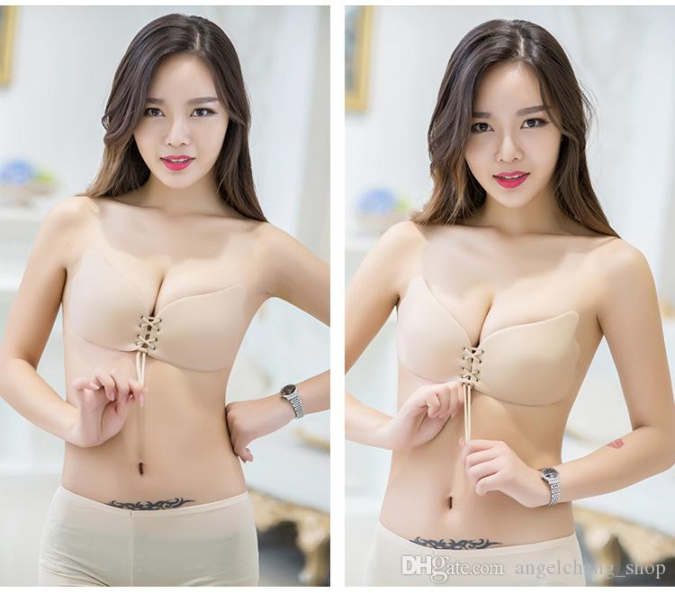 7d3b8969077cf 2019 Women Invisible Bra Nu Bra Butterfly Wing Invisible Bras Push Up  Seamless Strapless Backless Bra Self Adhesive Stick A B C D Cup From  Angelcheng shop