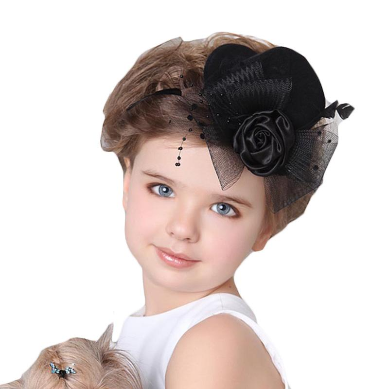 Fashion Baby Hair Clips Baby Bride Headdress Newborn Infant Small Hat Hairpin Photography Props Children Accessories