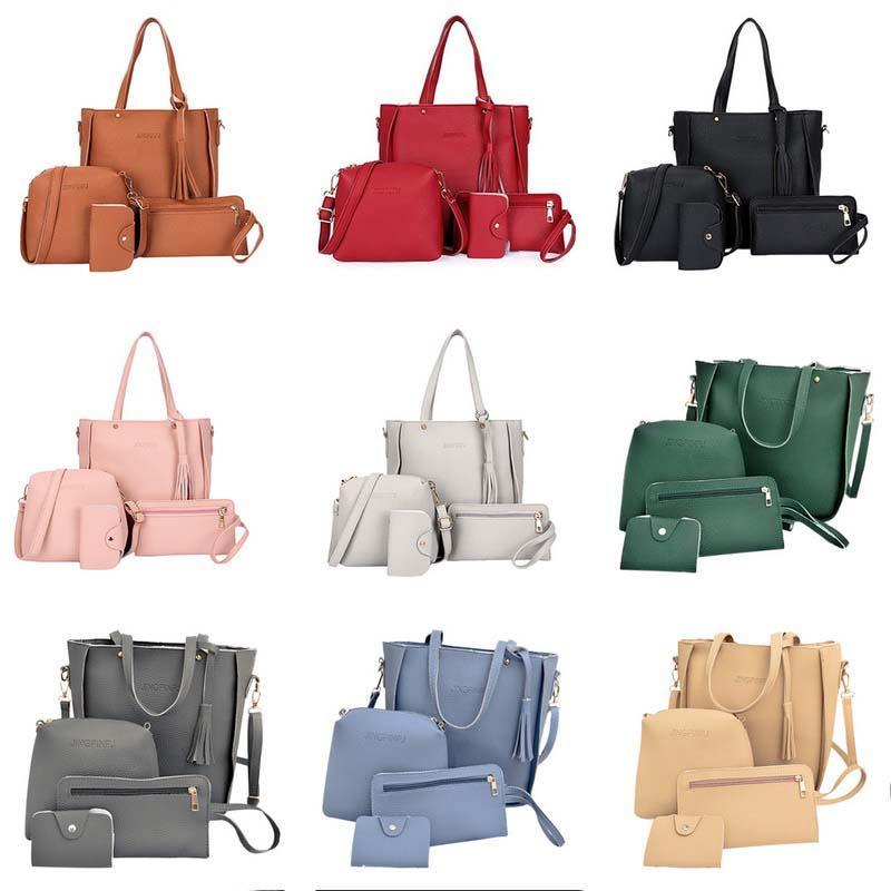 Top-handle Bags 4pcs Women Leather Handbag Lady Shoulder Bag Tote Purse Messenger Satchel Set Discounts Price