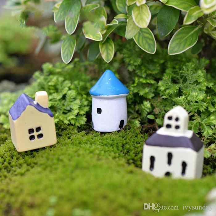 Creative Resin Decor Mini Castle Cafe Church House Model Moss Terrarium Micro Landscape Green Plant Pot Accessories Fairy Garden DIY Zakka
