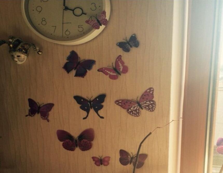 lote Cinderella Butterfly 3D Butterfly Decoration Pegatinas de pared 3D Butterflies PVC Pegatinas de pared extraíble Butterflys