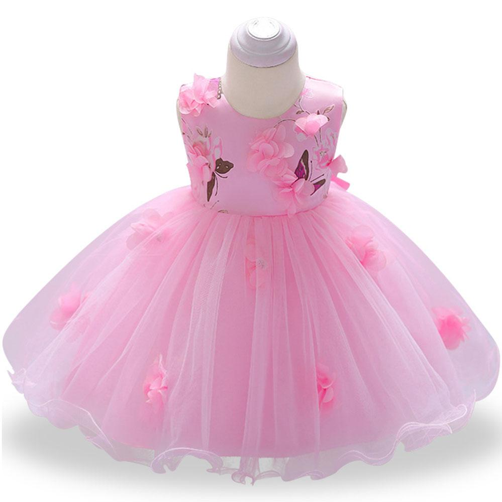 5d81479ca 2019 Baby Girl Party Dress 1st Birthday Gift Princess Flower Dress For Girls  Christmas Baby Christening Gowns Sleeveless Ball Gown From Xunqian, ...