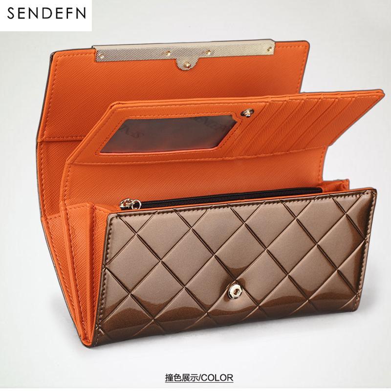 c5957c30a8b32 Satın Al Sendefn Lüks Tasarımcı Kadın Cüzdan Patent Deri Debriyaj Lady  Parti Çanta Kareli Cüzdan Telefon Kadın Çantalar Uzun Para Tutucu, $102.31  | DHgate.
