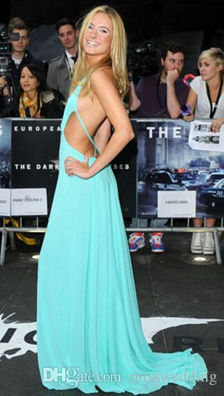 Baby Blue Long Chiffon Prom Dress Sexy Backless Discount Price Front Slit Celebrity Gown Deep V-neck