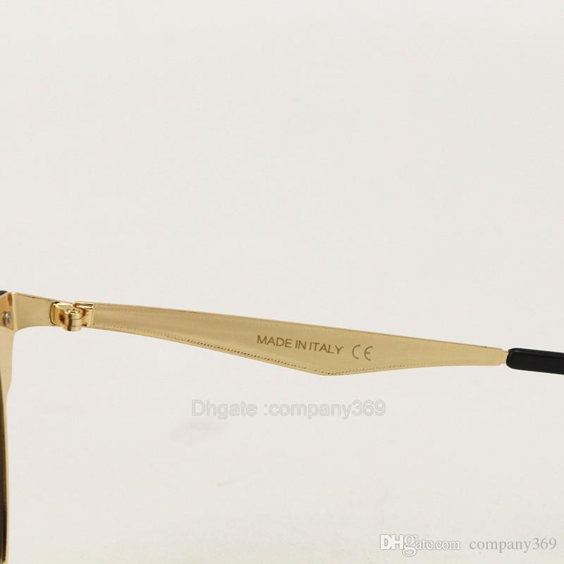 top quality óculos de sol para as mulheres moda vassl marca designer de metal ouro quadro vermelho colorido óculos de sol eyewear vem marrom caixa