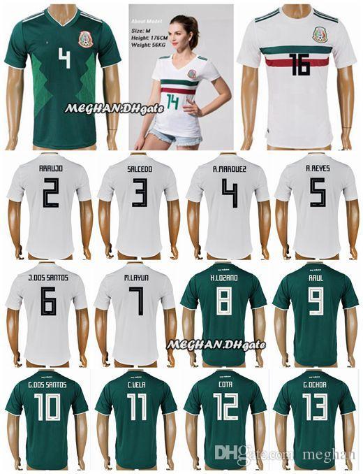 0a91ee05926 Mexico Soccer Jersey 2018 World Cup CHICHARITO H.LOZANO G.DOS SANTOS ...