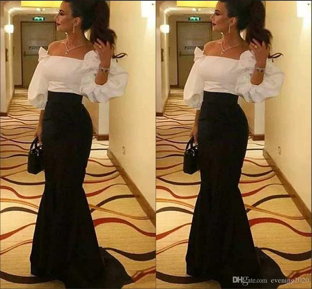 Charming Black And White Prom Dresses Mermaid Off Shoulder Half Sleeve  Simple Special Occasion Dresses Elegant Evening Gowns Cheap Mermaid Prom  Dresses ... 6a3ac4459