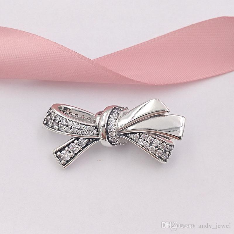 0b6e6bd26 2019 Authentic 925 Sterling Silver Beads Brilliant Bow Charm Charms Fits  European Pandora Style Jewelry Bracelets & Necklace 797241CZ From  Andy_jewel, ...