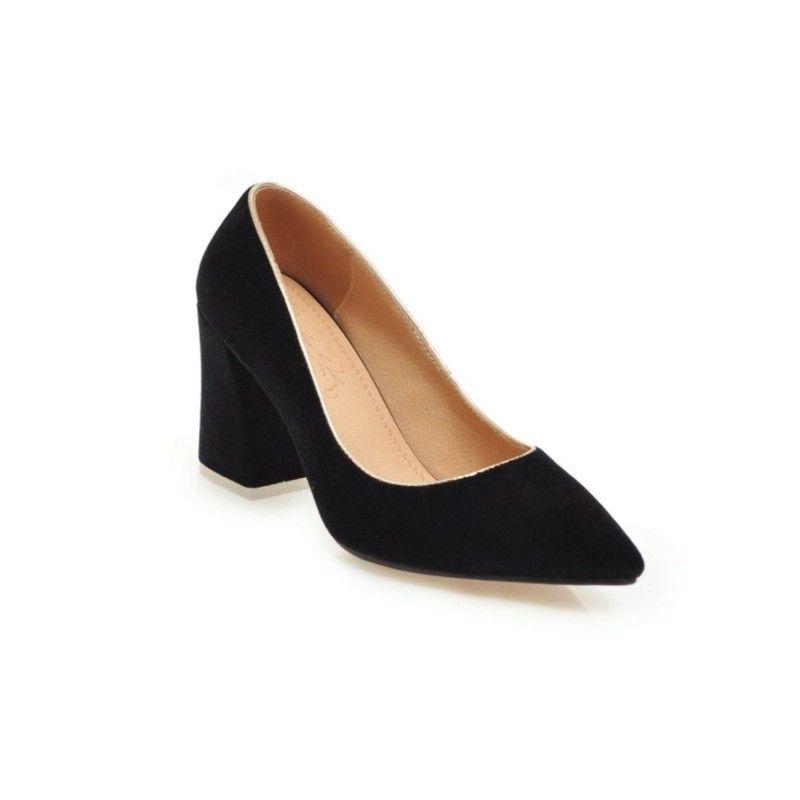 49958c61e Pump High Heels Black Single Sole Pumps High Heels Women Velvet Office Shoes  Classics Chunky sandals 2018 Solid shoe Female footwear