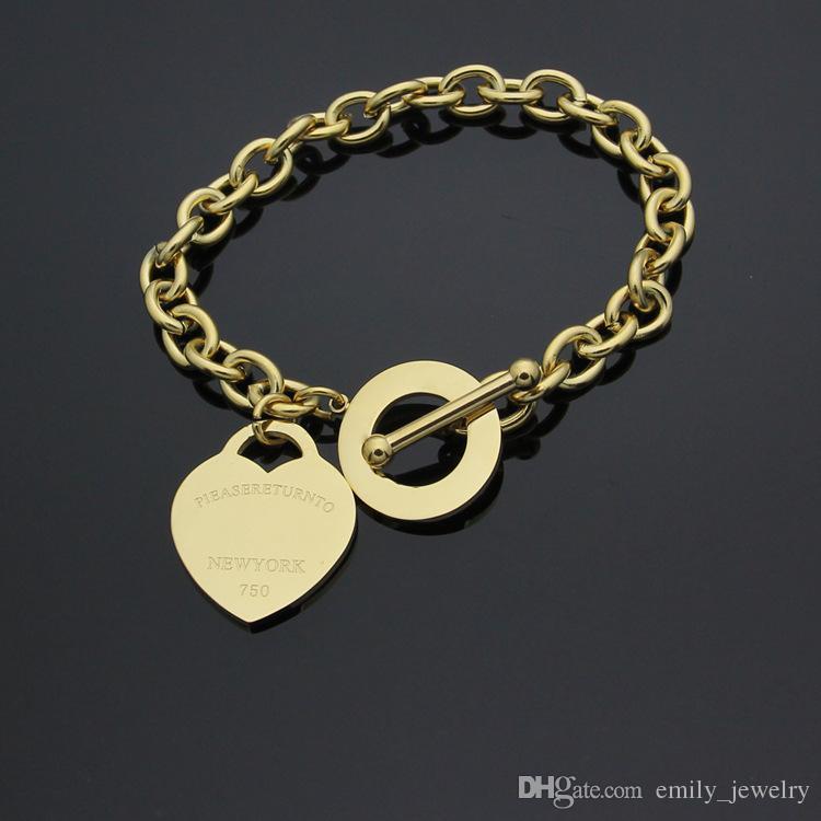 Marca de Jóias de luxo Pulseira Aço Inoxidável amor T Pulseira Bead Rose Banhado A Ouro Coração Para Sempre Amor Tag Bangle Jóias Para As Mulheres