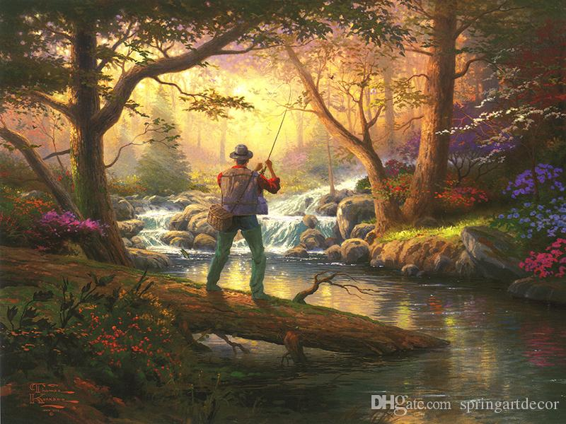 Online Cheap Forest Landscape Fishing Thomas Kinkade Oil Paintings ...