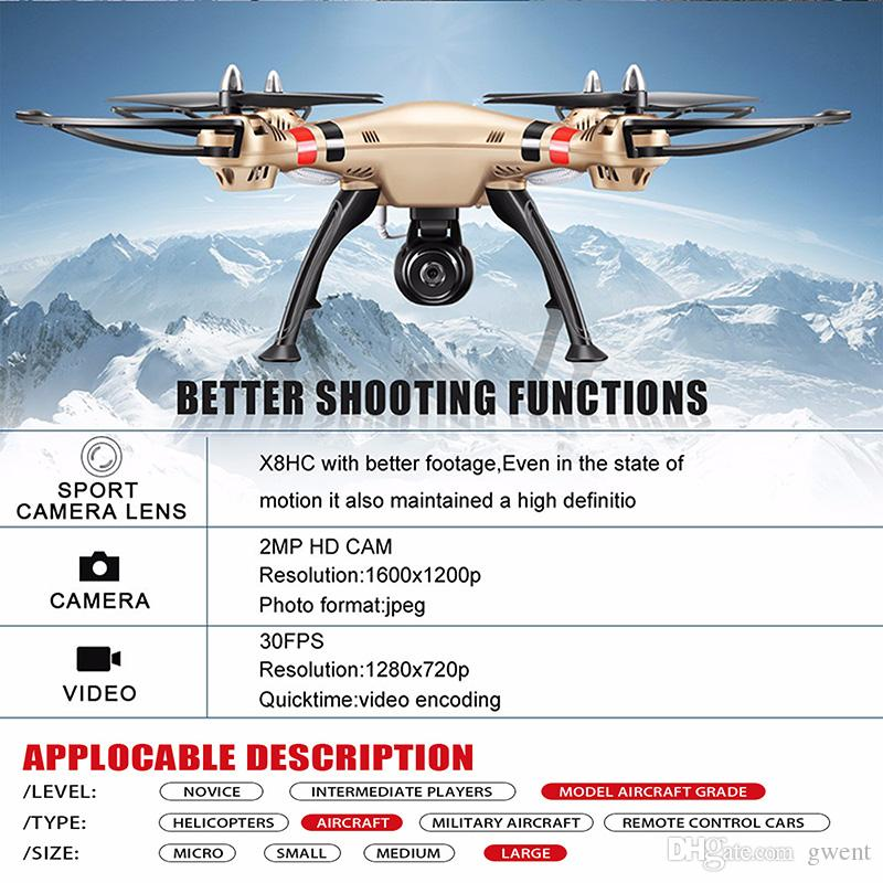 Original SYMA X8HC RC Drone with HD 2MP Camera RC Quadcopter With USB  Charger 4G Memory Card