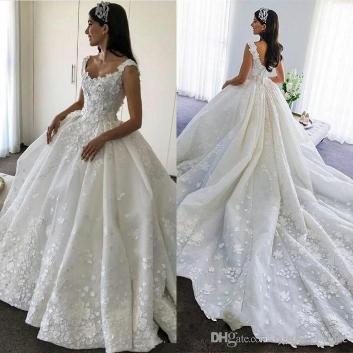 2019 Wedding Gown Design: Newest Design 2019 Wedding Dresses Glamorous Appliques