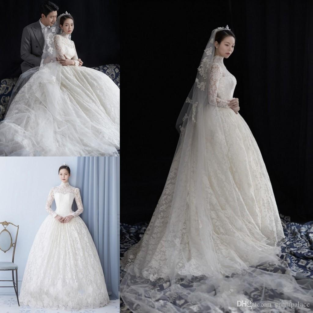 Discount Vintage High Neck Wedding Dresses Long Sleeves A Line Bridal Gowns For Party Custom Made Full Lace Style: High Neck Wedding Dress At Websimilar.org